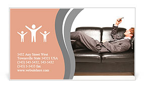 Manager on couch Business Card Templates