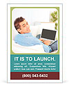 Portrait of a man relaxing on couch while using a laptop Ad Template