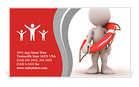 3d human with life preserver. 3d illustration. Business Card Template