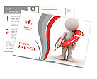 3d human with life preserver. 3d illustration. Postcard Template