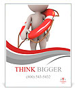 3d human with life preserver. 3d illustration. Poster Template