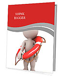3d human with life preserver. 3d illustration. Presentation Folder
