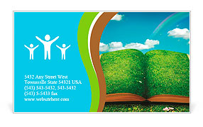 Open magic book of nature Business Card Templates