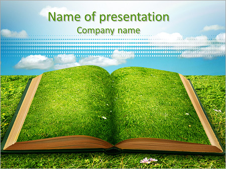 Open Magic Book Of Nature Powerpoint Template & Backgrounds Id