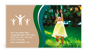 Girl with bubbles Business Card Template