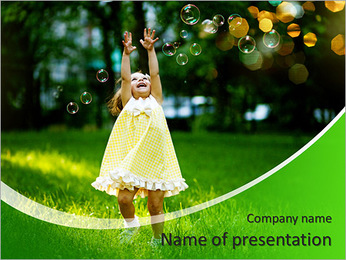 Girl with bubbles PowerPoint Template
