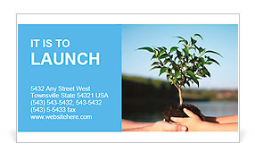 Plant in hands Business Card Template