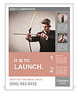 Young businessman drawing a bow Poster Template