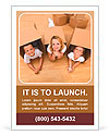 Family in a new home with cardboard boxes - having fun on the floor Ad Templates