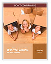 Family in a new home with cardboard boxes - having fun on the floor Word Templates