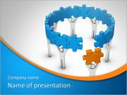 Man with last jigsaw piece for puzzle wheel PowerPoint Templates
