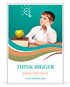 Cheerful little boy sitting at the table. School concept Ad Templates