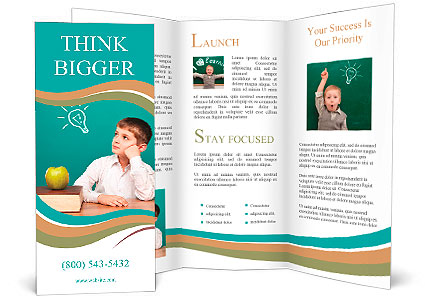Cheerful Little Boy Sitting At The Table School Concept Brochure - School brochures templates