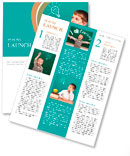 Cheerful little boy sitting at the table. School concept Newsletter Template