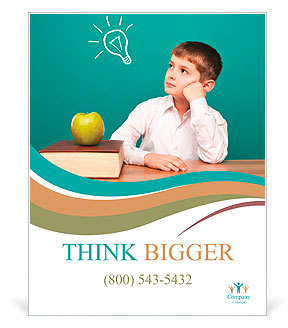 Cheerful little boy sitting at the table. School concept Poster ...