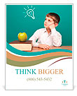 Cheerful little boy sitting at the table. School concept Poster Templates
