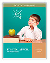 Cheerful little boy sitting at the table. School concept Word Templates
