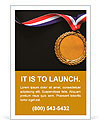 Gold medal on black with blank face for text, concept for winning or success Ad Templates