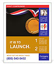 Gold medal on black with blank face for text, concept for winning or success Poster Template