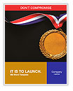 Gold medal on black with blank face for text, concept for winning or success Word Templates