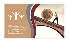 Businessman pushing an euro coin uphill Business Card Template