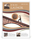 Businessman pushing an euro coin uphill Flyer Template