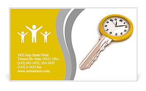 Clock-Key. Concept of Successful time management or other. 3d illustration. Business Card Template
