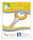Clock-Key. Concept of Successful time management or other. 3d illustration. Flyer Template