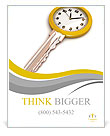 Clock-Key. Concept of Successful time management or other. 3d illustration. Poster Templates