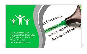 Highlighter and word performance concept background Business Card Template