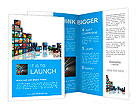 Media technologies concept: photo collage from cubes with pictures isolated on white reflective back Brochure Templates