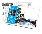 Media technologies concept: photo collage from cubes with pictures isolated on white reflective back Postcard Template