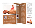 A naked man lying on the floor while a woman steps on his chest with a red stiletto Brochure Templates