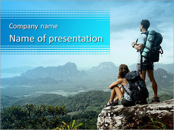 Young backpackers enjoying a valley view from top of a mountain PowerPoint Template