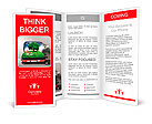 Red suitcase with green nature landscape in it Brochure Templates