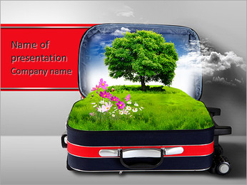 Red suitcase with green nature landscape in it PowerPoint Template