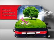 Red suitcase with green nature landscape in it PowerPoint Templates