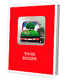 Red suitcase with green nature landscape in it Presentation Folder