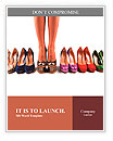 Multicolored shoes and legs on a white background Word Template