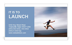 Sport and energy concept - athletic man running fast Business Card Template