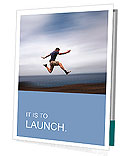 Sport and energy concept - athletic man running fast Presentation Folder