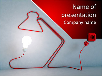 Desk lamp shaped electric cord - energy and creativity concept PowerPoint Template