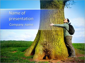 Love nature, woman hugging huge tree trunk PowerPoint Template
