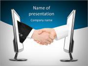 Виртуальный рукопожатие - интернет бизнес-концепция, изолированных на белом фоне Шаблоны презентаций PowerPoint