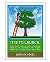 Managing your money and debt management with a business man on a ladder taking care of a tree that i Ad Template