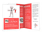 3D man standing and holding red keys Brochure Templates