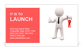 3D man standing and holding red keys Business Card Template