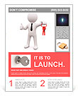 3D man standing and holding red keys Flyer Templates