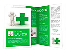 3d man showing thumbs up with green plus sign on white background Brochure Templates