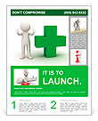 3d man showing thumbs up with green plus sign on white background Flyer Template